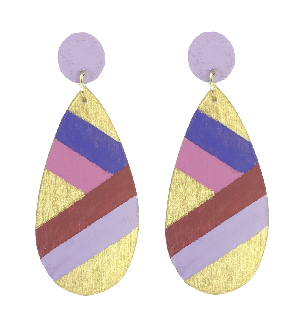 Purple, Maroon and Pink, Hand-painted, Wood Earrings #E509