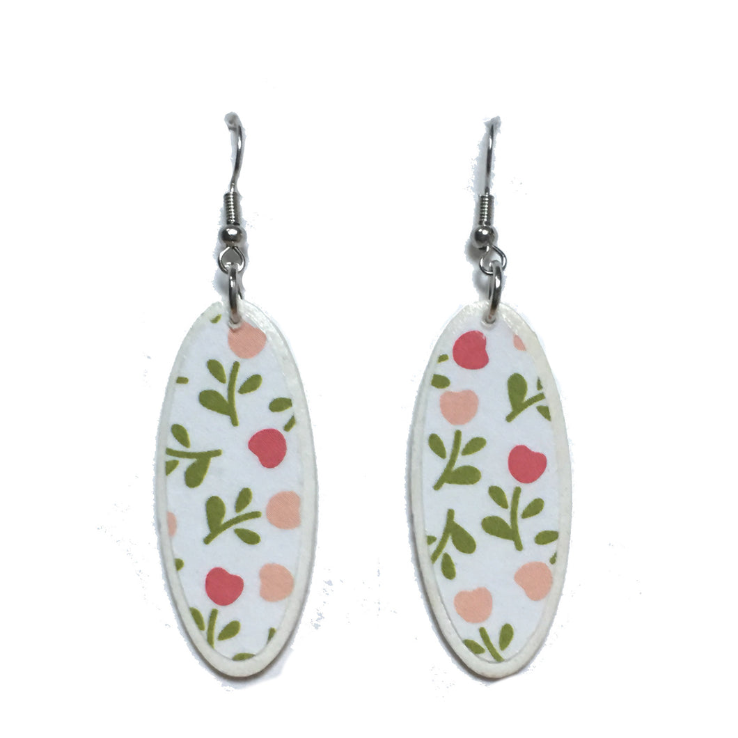 Pink and Peach Flowers and Green Leaves, Wood Earrings #E734
