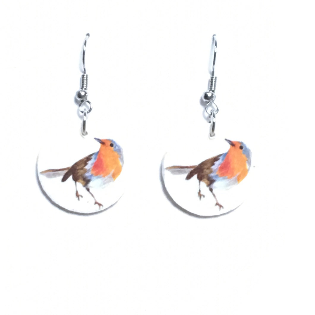 Brown and Orange Robin, Bird Image on Wood Earrings #E664