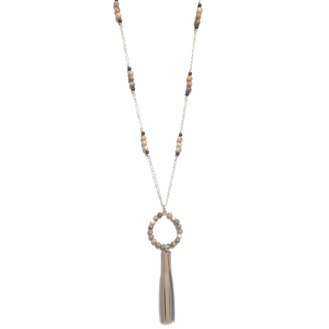 Pink and Grey Beads, Rose Gold Leather Tassel - Boho Necklace #N150