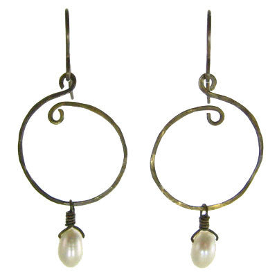 Vintage Inspired - Sculpted Brass Earrings with Pearls #E314