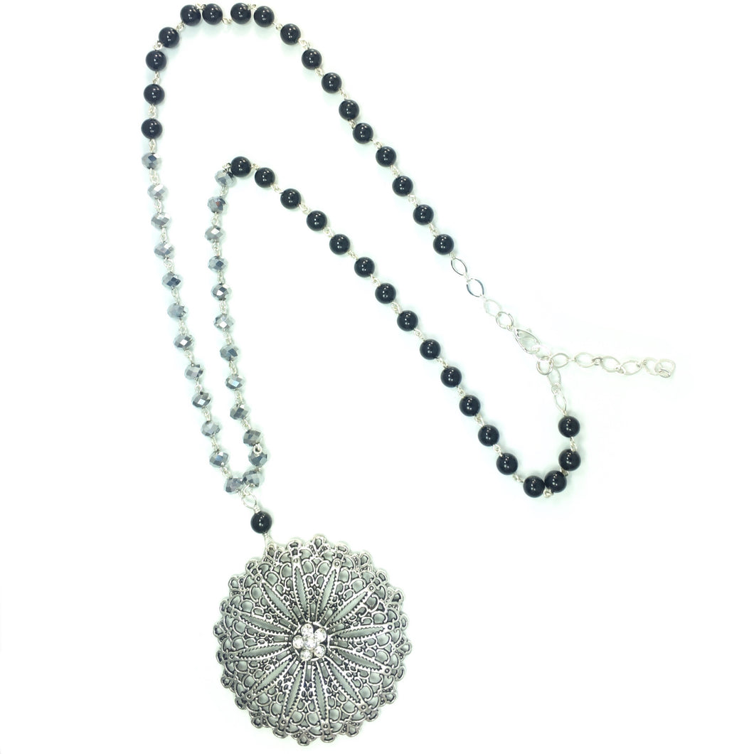 Black and Silver Beaded Necklace with Round Silver Tone Pendant #N144