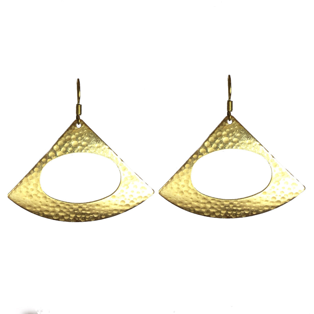 Brass Triangle Earring with Circle Cut-out #E559