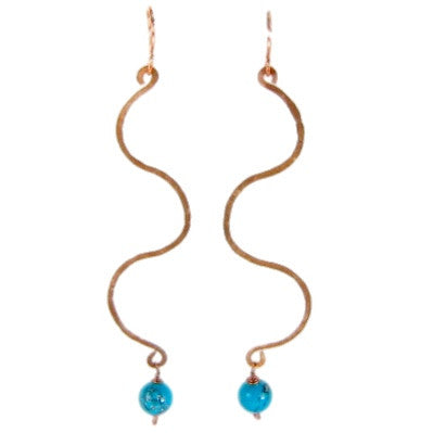 Copper Handmade Earrings with Turquoise Bead #E36