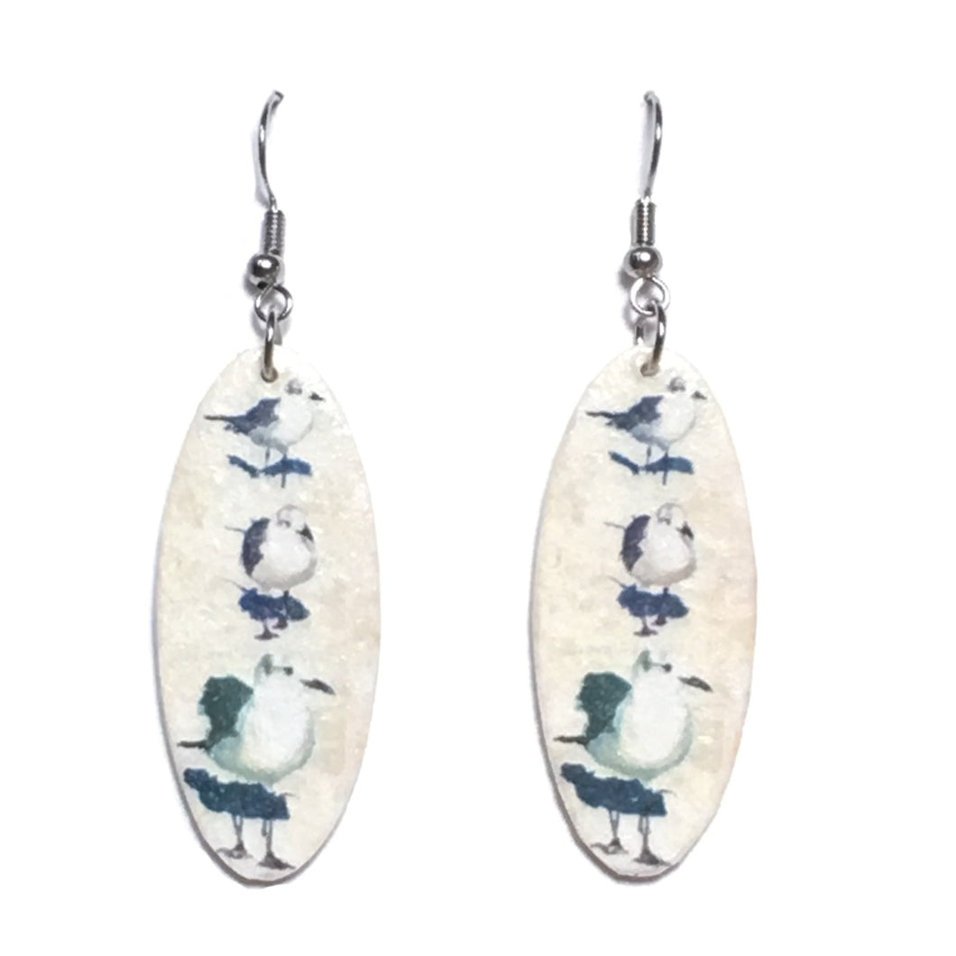 Photo of Sea Birds on Oval Wood, Decoupage Earrings #E668