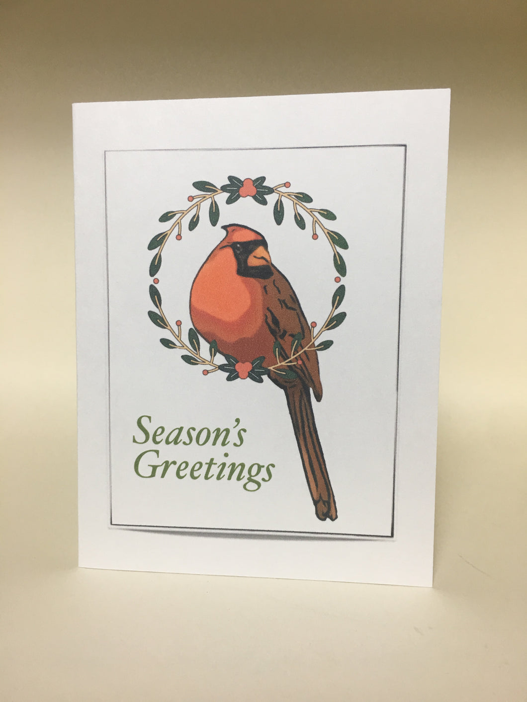Cardinal Christmas Greeting Cards, 4 Pack, Cardinal Gift, Seasons Greetings, Thinking of You, Miss You, Holiday Card #C25
