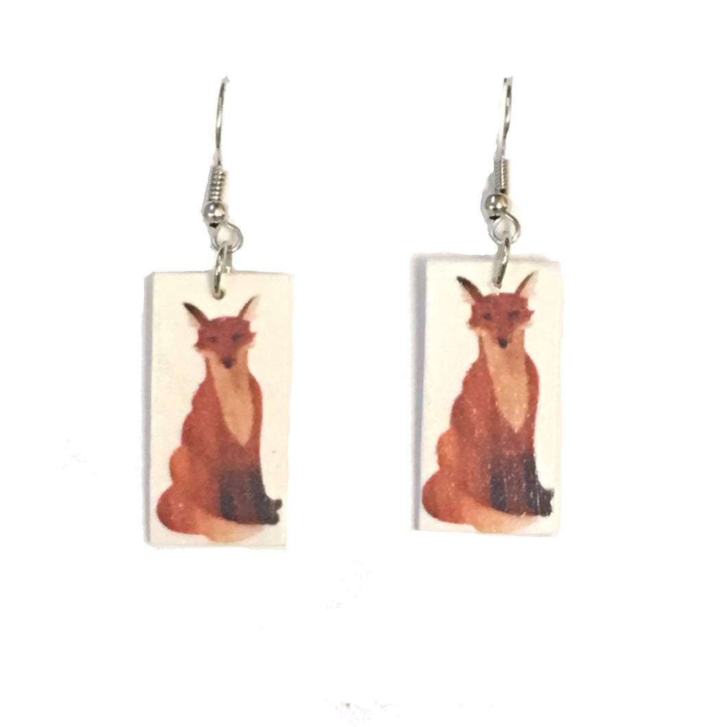Small, Seated Fox Earrings - Image on Wood - Decoupage Earrings E659