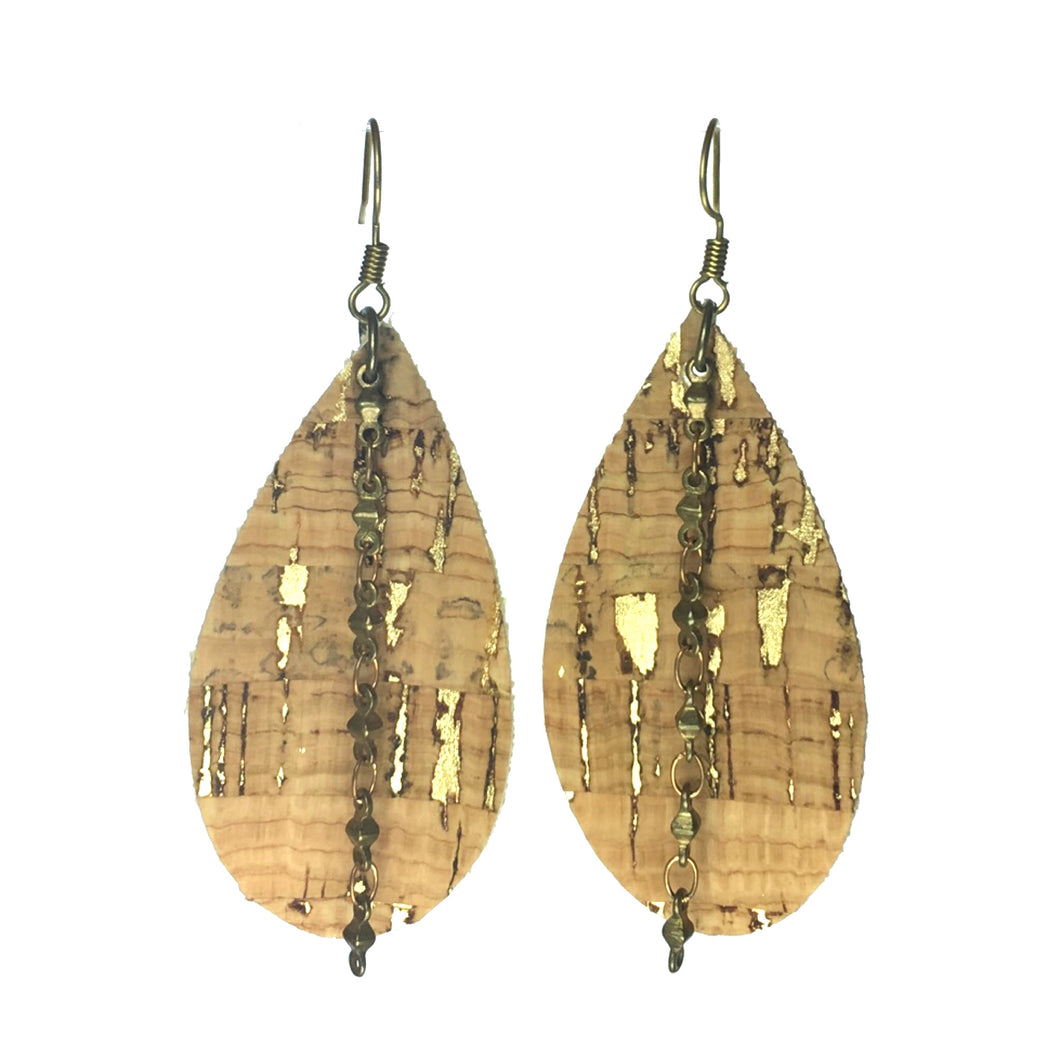 Cork Teardrop with Chain Earring #E567