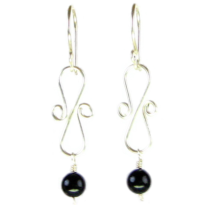 Onyx Bead, Sculpted Wire Earring #E246