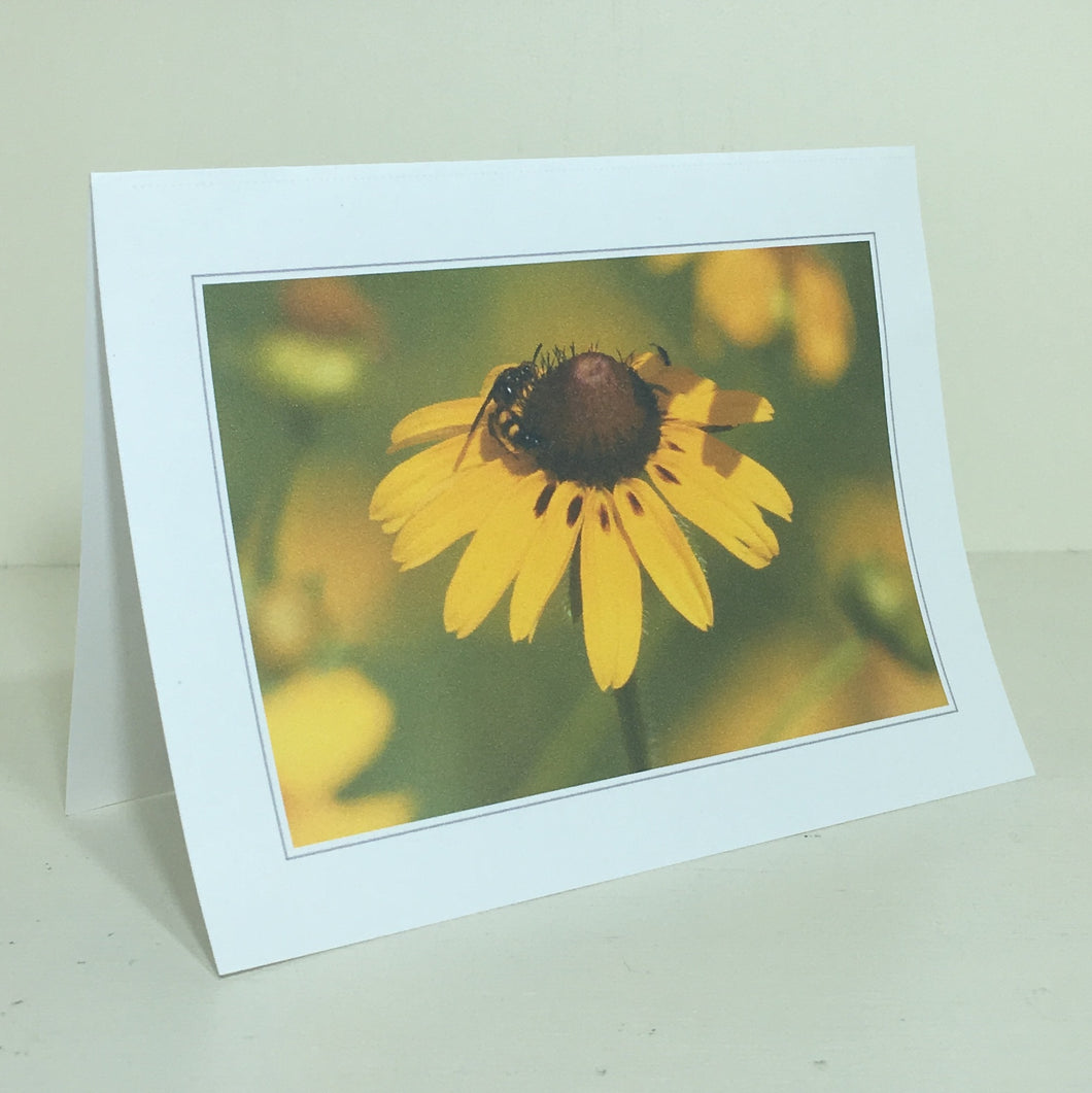 Bee Card, Sunflower Card, Flower Card, Note Card #C39