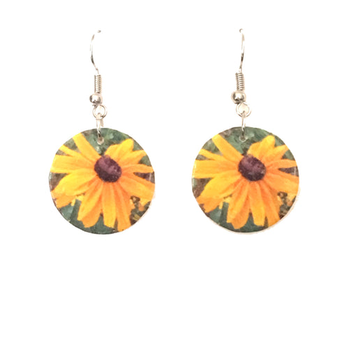 Round Sunflower Earrings - E655