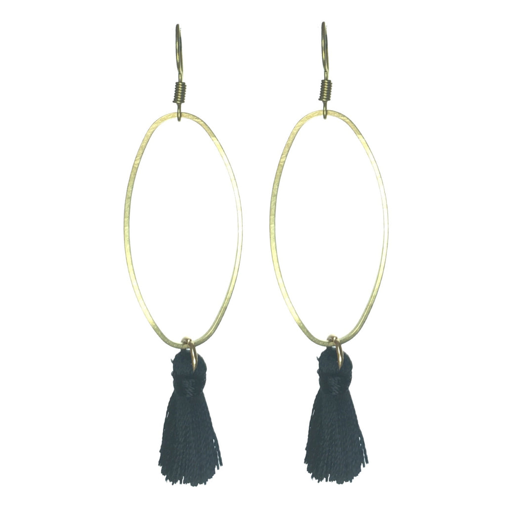 Brass Oval Ring with Black Tassel Earrings #E556