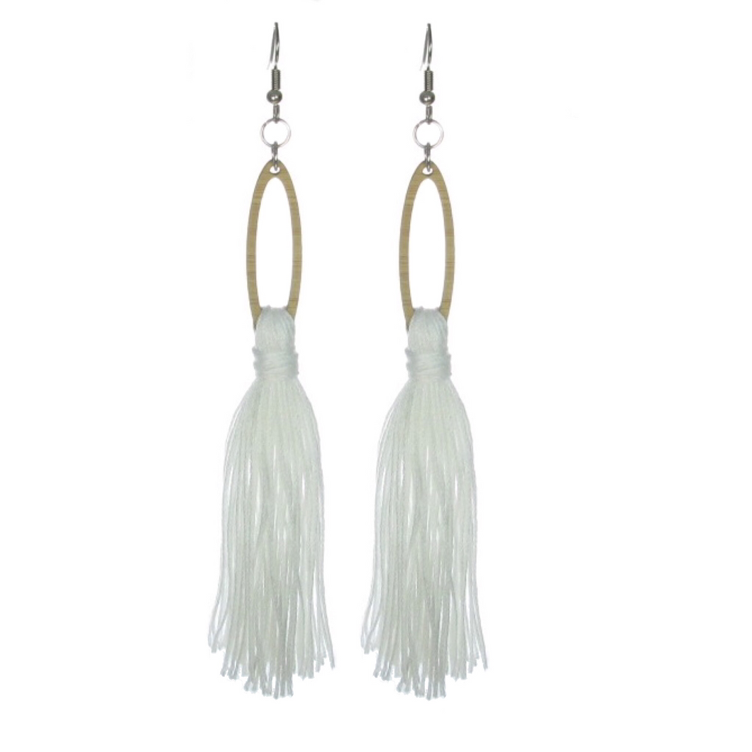 White Tassel Earrings on Wood Oval #E503