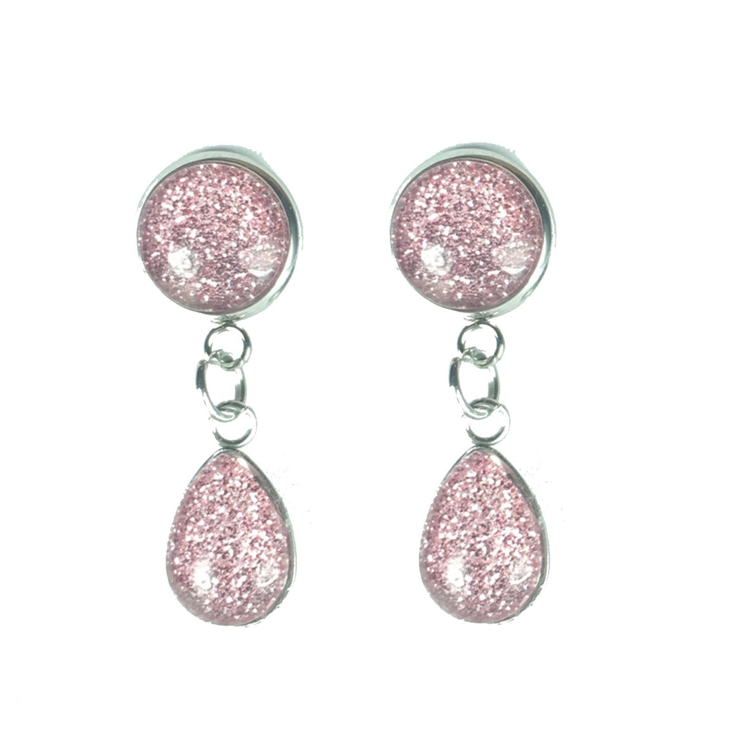 Teardrop Glitter Dangle and Stud Earring #E616