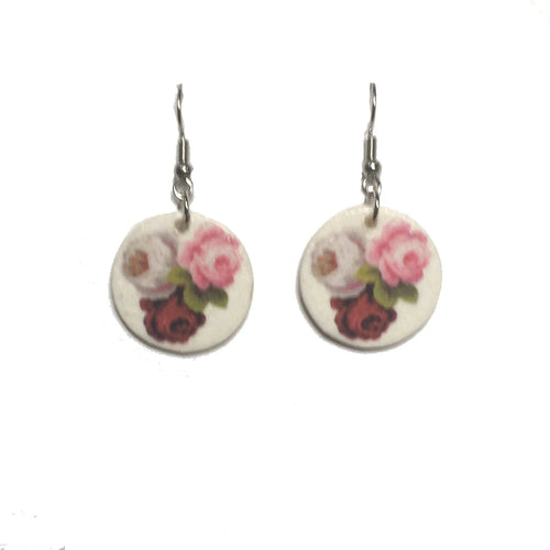 Red, Pink and White Roses, Photo Decoupage, Nature, Floral Earrings #E722