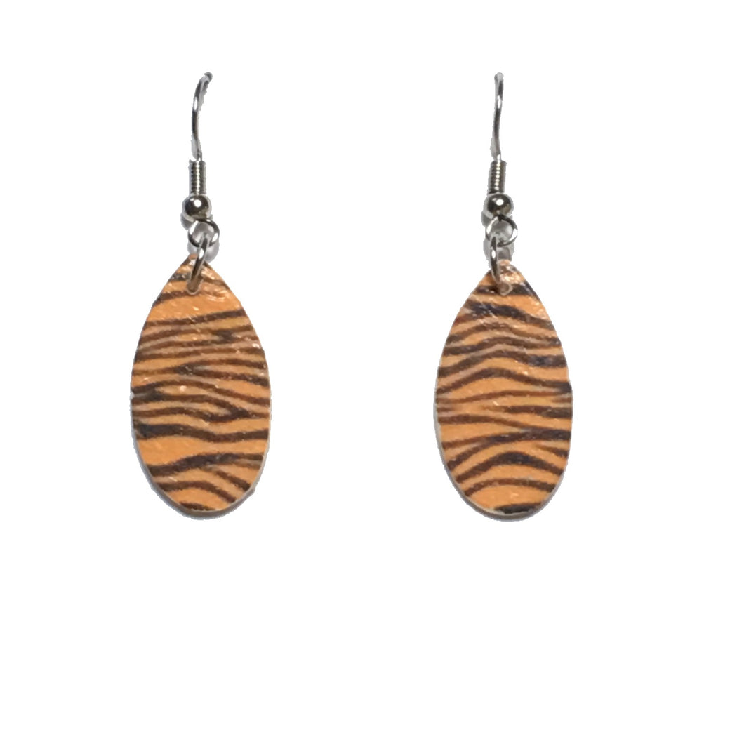 Tiger Print, Teardrop, Wood Earring E677