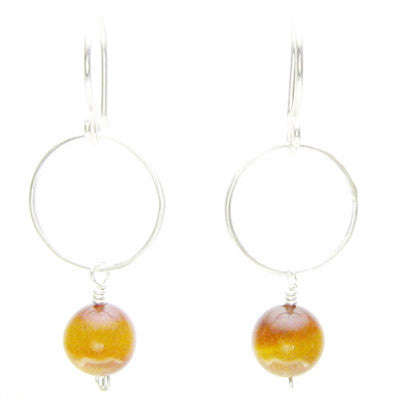 Sterling Silver Ring and Tiger Eye Bead Earrings #E276