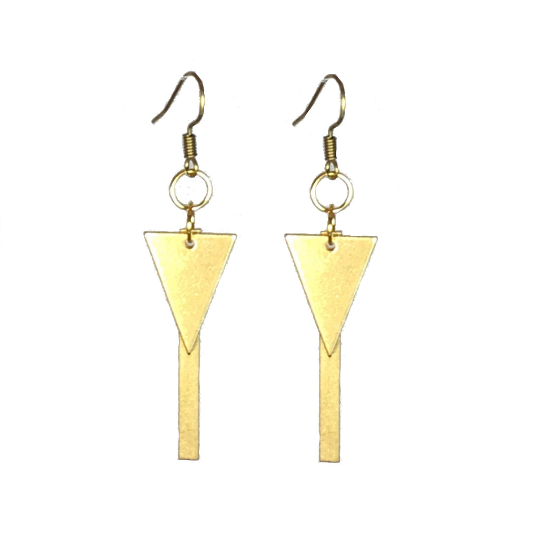 Brass Bar and Triangle Earring #E555