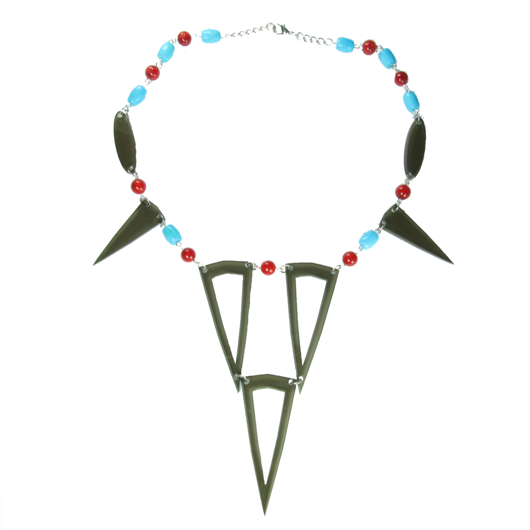 Grey Acrylic, Turquoise and Coral Necklace #N135 - Limited Quantities