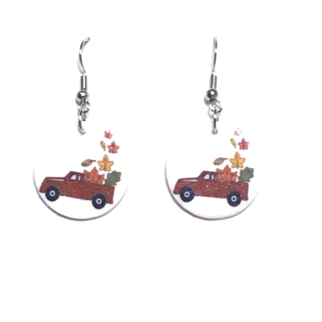 Red Truck with Fall Leaves Earrings E672