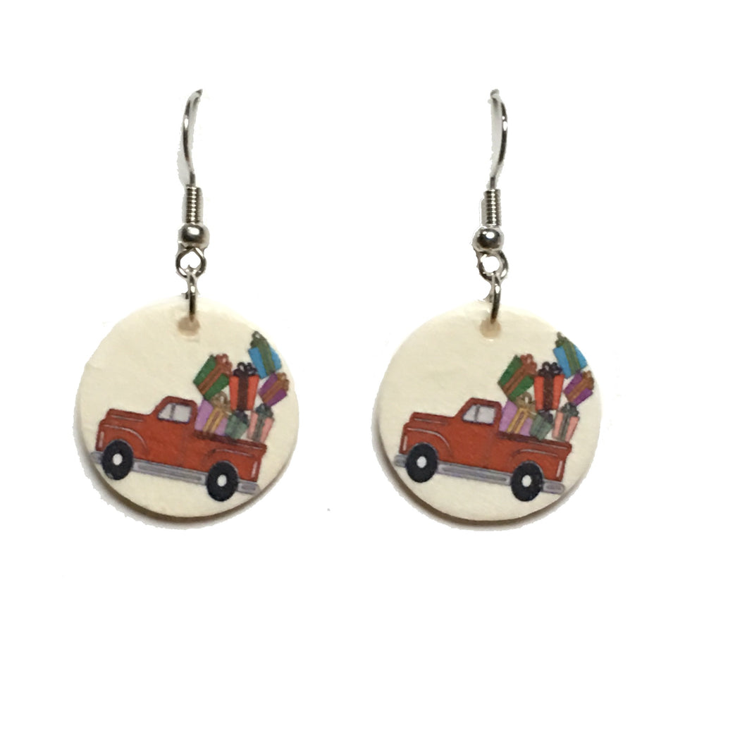 Christmas Presents in Red Truck Earrings E679