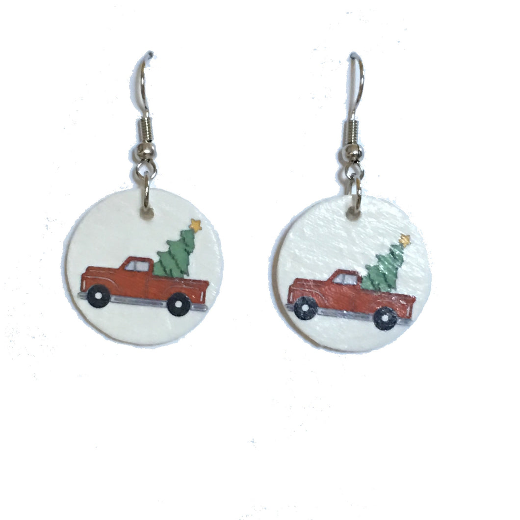 Christmas Tree in Red Truck Earrings E680