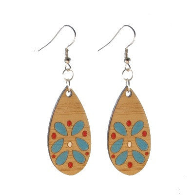 Wood Teardrop, Turquoise, Red and White #E497