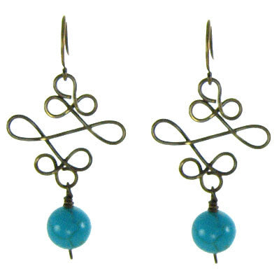 Vintage Inspired - Turquoise on Sculpted Wire #E333