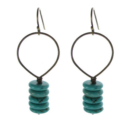 Vintage Inspired - Turquoise Stack and Brass Hoop #E444