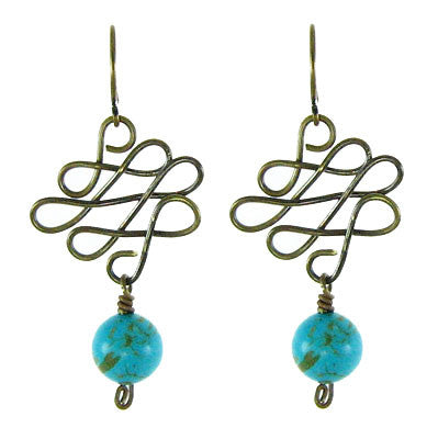 Vintage Inspired - Turquoise on Sculpted Wire #E339