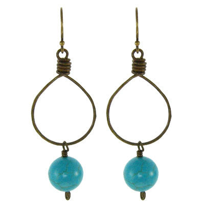 Vintage Inspired - Round Turquoise Bead on Brass Hoop #E335