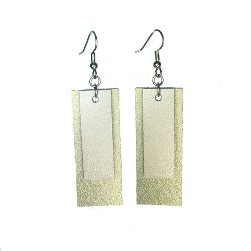 Rose Gold and Gold Rectangle Earrings E531