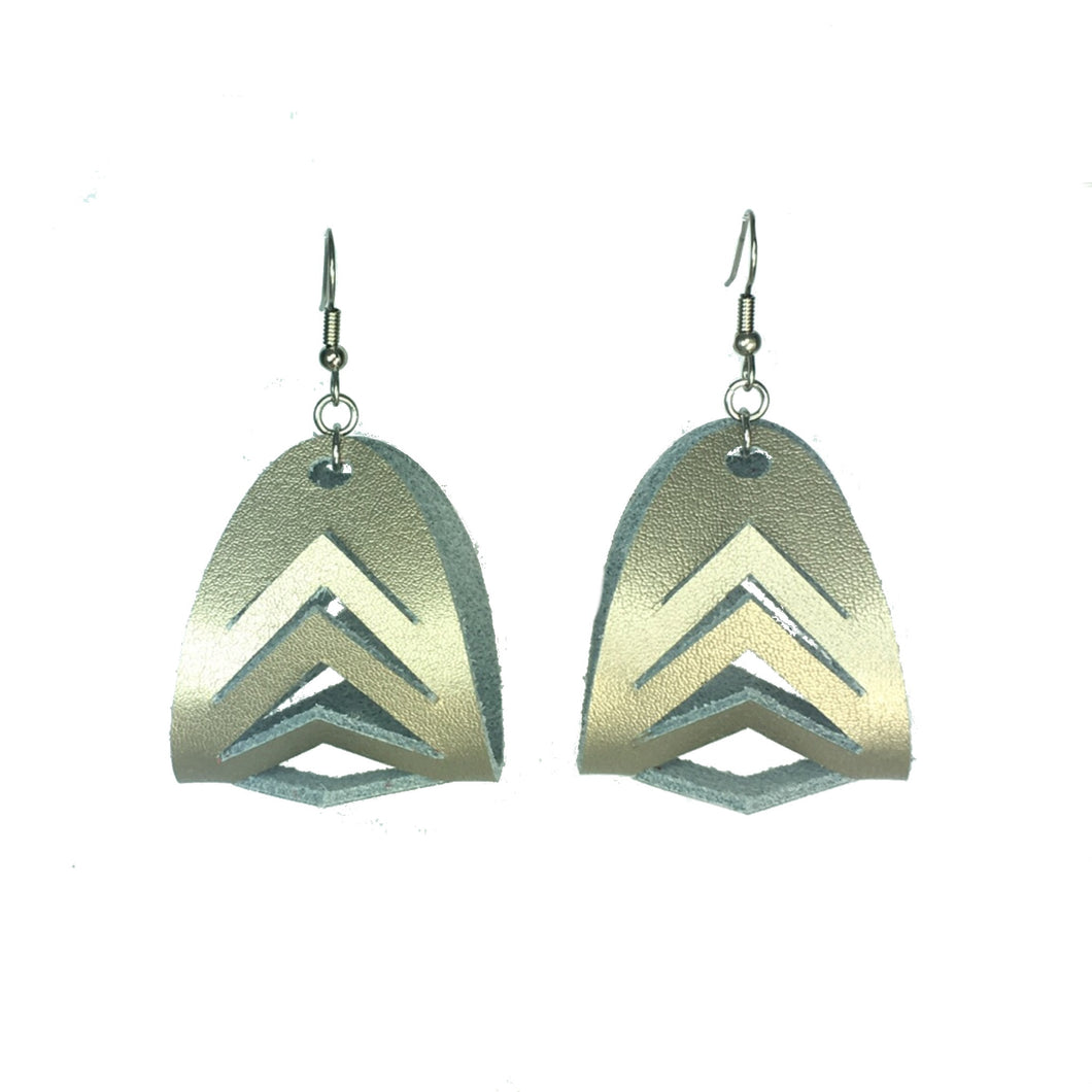Gold Leather Hoop Earring with Chevron Cuts #E532
