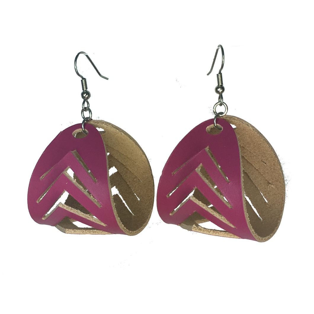 Hot Pink Leather Hoop Earring with Chevron Cuts #E543