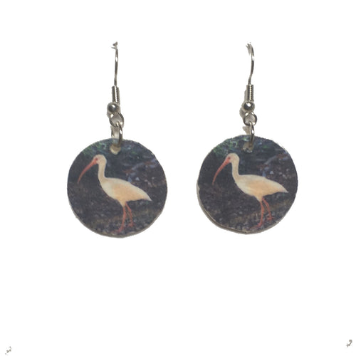 White Ibis, Florida Bird Image on Wood, Earrings, Earth Jewelry #E724