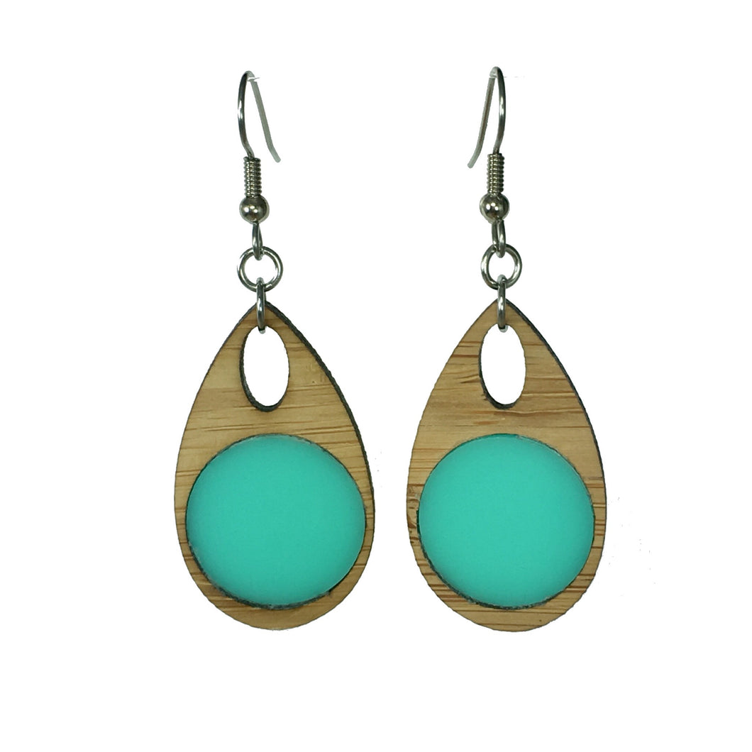 Wood and aqua acrylic earring by Pam Branch Designs.