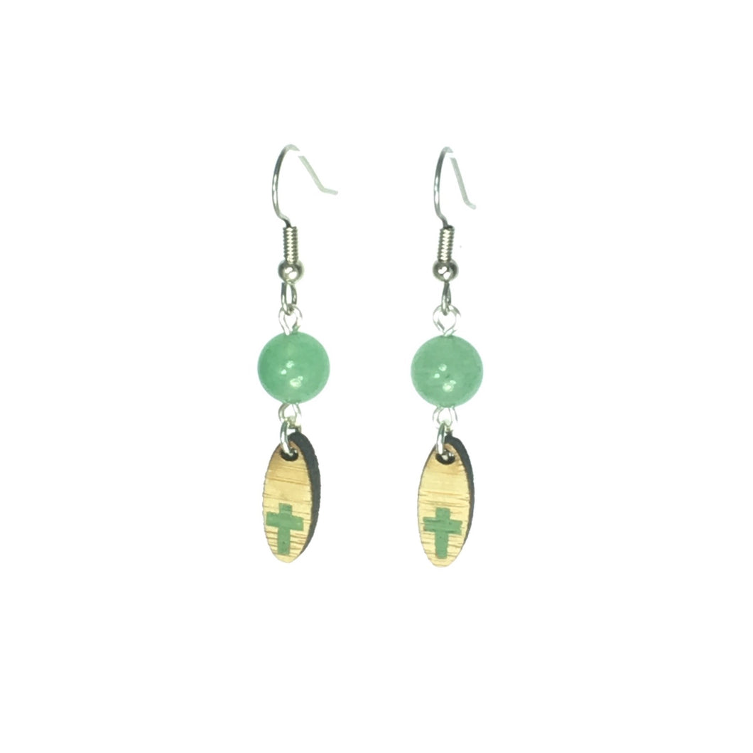 Wood Oval with Cross, Green Aventurine Earrings #E521