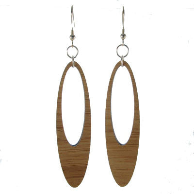 Wood Earrings, Oval Hoop #E483
