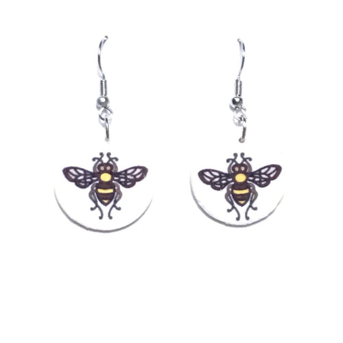 Yellow and Black Bee Earrings - E670