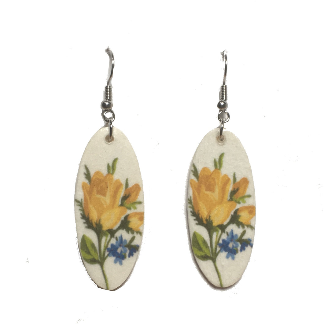 Yellow Flowers, Photo Decoupage, Nature, Floral Earrings #E716