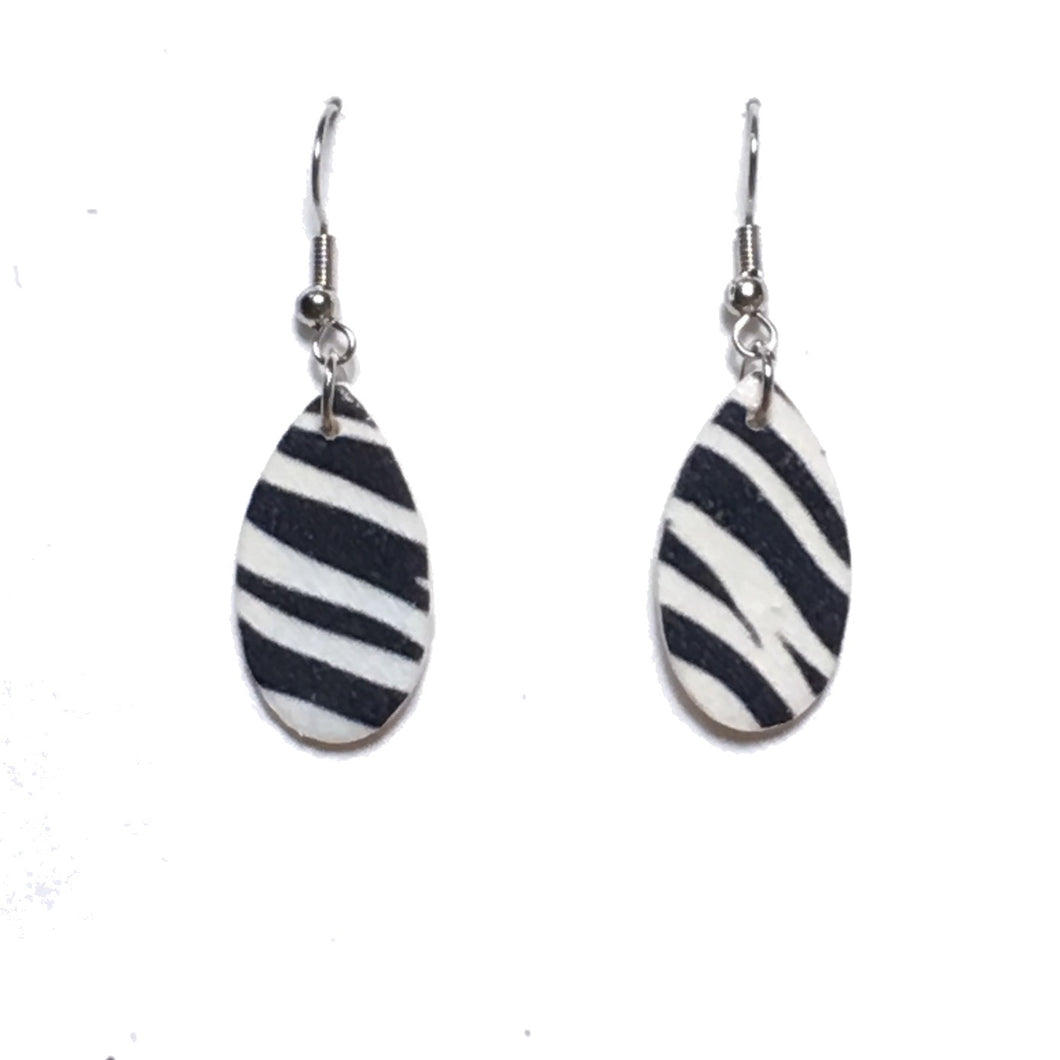 Zebra Print, Teardrop, Wood Earring E676