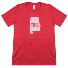 Load image into Gallery viewer, This is Alabama Unisex Short Sleeve Tee - Red Heather