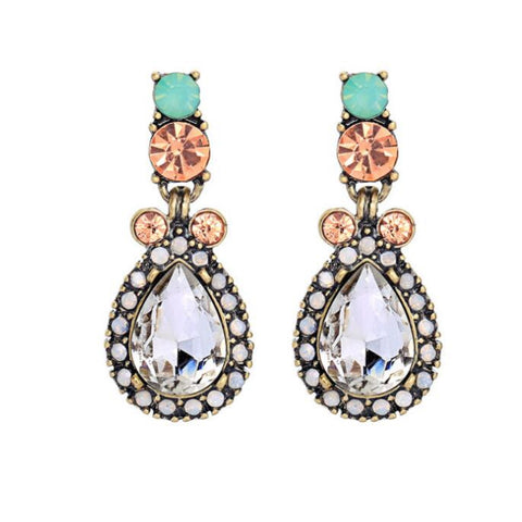 Elegant Small Chandelier Colorful Crystal Earrings