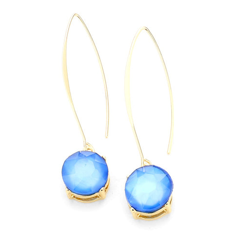 Blue Opal Gemstone Long Gold Hook Earrings