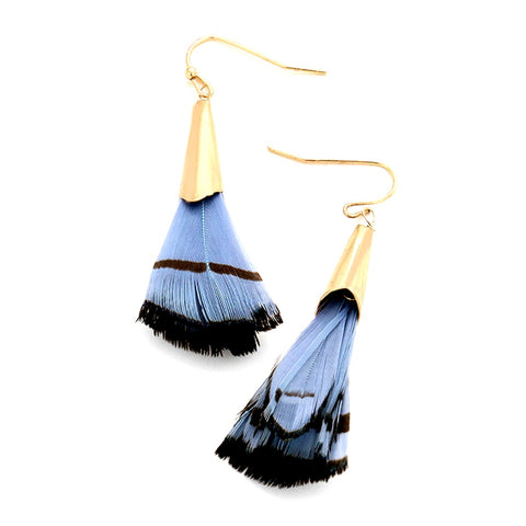 Urban Gold Blue Black Layered Feather Earrings