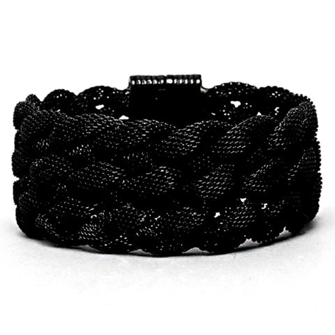 Chic Jewelry Silver Braided Metal Mesh Wide Magnetic Closure Bracelet Statement