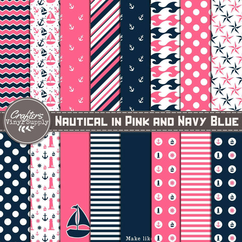 Nautical in Pink and Navy Blue Patterns