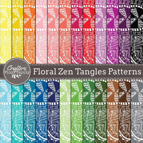 Floral Zen Tangles Patterns