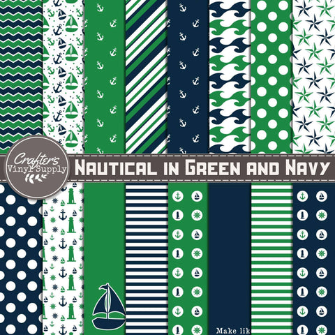 Nautical in Green and Navy Patterns