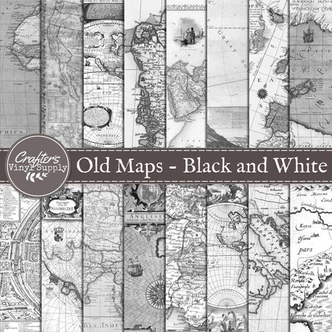 Old Maps Black and White Patterns